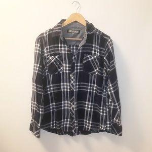 Paper Denim & Cloth Flannel Plaid Shirt Navy Sz M